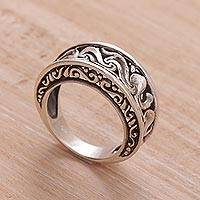 Sterling silver band ring, 'Refinement'