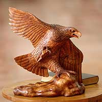 Wood sculpture, 'Eagle Hunter' - Wood sculpture