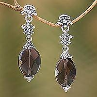 Smoky quartz dangle earrings, 'Java Palace' - Smoky quartz dangle earrings