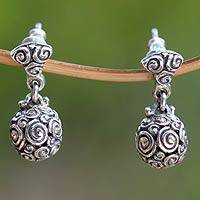 Sterling silver dangle earrings, 'Spiral Spheres'