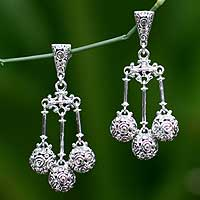 Sterling silver waterfall earrings, 'Worlds in Balance' - Artisan Crafted Sterling Silver Chandelier Earrings