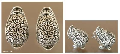 Sterling silver drop earrings, 'Tortoise Shell' - Sterling Silver Button Earrings