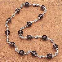 Smoky quartz link necklace, 'Royal Elegance' - Smoky Quartz Beaded Link Necklace from Bali