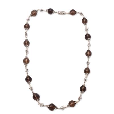 Smoky quartz link necklace, 'Royal Elegance' - Smoky Quartz Beaded Link Necklace from Bali