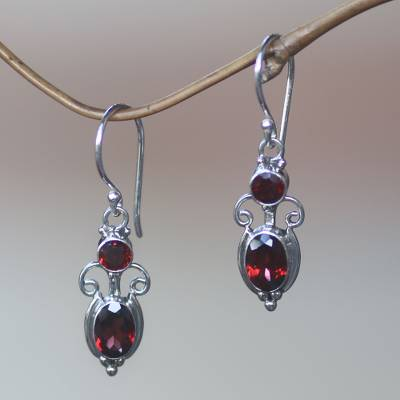 Garnet dangle earrings, 'Crown Princess' - Sterling Silver Garnet Dangle Earrings