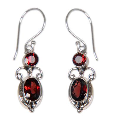 Artisan Made Sterling Silver Garnet Dangle Earrings