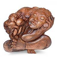Wood sculpture, 'Mother and Child Intimacy' - Wood sculpture