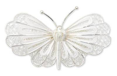 Sterling silver brooch pin, 'Queen Butterfly' - Handmade Sterling Silver Filigree Brooch Pin