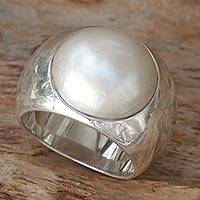 Cultured pearl dome ring, 'Contrasts' - Sterling Silver and Cultured Pearl Domed Ring