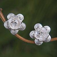 Sterling silver flower earrings, 'Desert Rose' - Indonesian Sterling Silver Floral Button Earrings