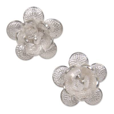Indonesian Sterling Silver Floral Button Earrings