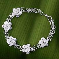 Sterling silver pendant bracelet, 'Desert Rose' - Sterling silver pendant bracelet