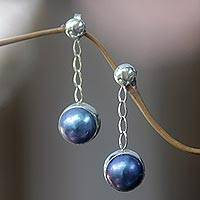 Cultured pearl dangle earrings, 'Blue Suspense' - Cultured pearl dangle earrings