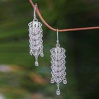 Sterling silver dangle earrings, 'Bali Shields' - Sterling Silver Filigree Earrings