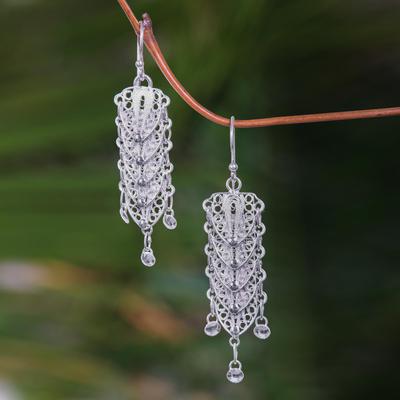 Sterling silver dangle earrings, 'Bali Shields' - Sterling Silver Filigree Earrings