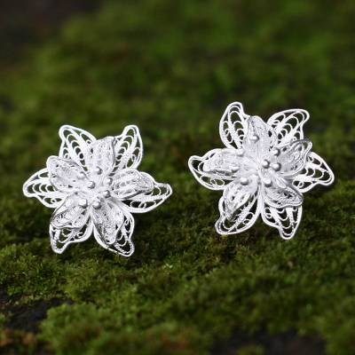 Sterling silver flower earrings, 'Bali Blossoms' - Indonesian Floral Sterling Silver Filigree Earrings