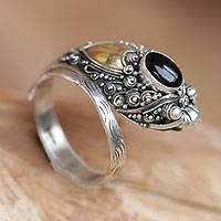 Gold accent onyx cocktail ring, 'Dragon' - Handcrafted Sterling Silver and Onyx Wrap Ring