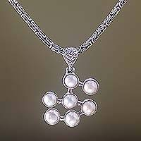 Pearl pendant necklace, 'Seven Clouds' - Sterling Silver and Pearl Pendant Necklace