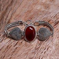 Carnelian bracelet, 'True Love' - Carnelian Heart Shaped Sterling Silver Bracelet