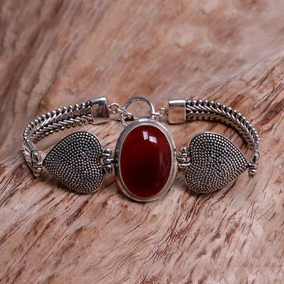 Carnelian bracelet, 'True Love' - Carnelian Heart Shaped Sterling Silver Bracelet
