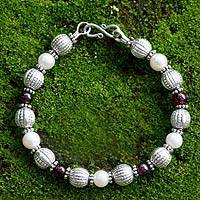 Pearl and garnet link bracelet, 'Beginnings' - Pearl and Garnet Sterling Silver Bracelet