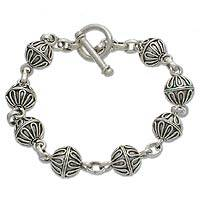 Sterling silver bracelet, 'Lace Baubles' - Sterling Silver Link Bracelet from Indonesia