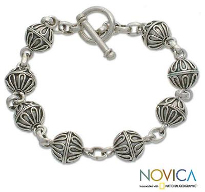Sterling silver bracelet, 'Lace Baubles' - Sterling Silver Link Bracelet from Indonesia