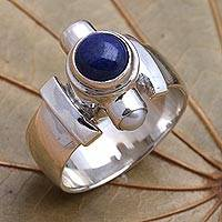 Pearl and lapis ring, 'Direction' - Handcrafted Sterling Silver and Lapis Lazuli Ring
