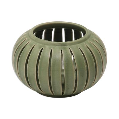 Ceramic Candleholder, U0027Onionu0027   Green Ceramic Candle Holder From Indonesia