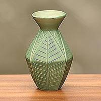 Ceramic vase, 'Frangipani Leaves' - Handcrafted Green Ceramic Leaf Motif Vase from Bali