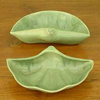 Ceramic bowls, 'Seashells' (pair) - Ceramic bowls (Pair)