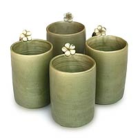 Ceramic mugs, 'Frangipani Brew' (set of 4) - Green Floral Ceramic Mugs (Set of 4)