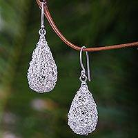Sterling silver dangle earrings, 'Moon Weave' - Modern Sterling Silver Dangle Earrings