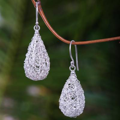Sterling silver dangle earrings, Moon Weave