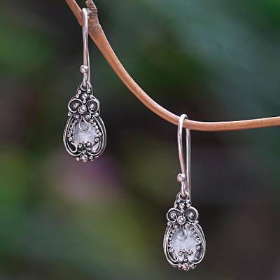 Moonstone earrings, 'Moon Flowers' - Sterling Silver and Moonstone Dangle Earrings