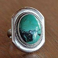 Sterling silver cocktail ring, 'Turquoise Intrigue' - Sterling Silver Cocktail Ring with Reconstituted Turquoise
