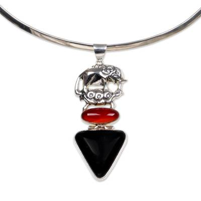 Hand Crafted Sterling Silver and Carnelian Necklace