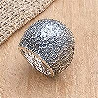 Sterling silver dome ring, 'Lava Flow' - Sterling silver dome ring