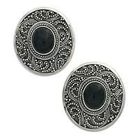 Onyx clip-on earrings, 'Midnight Beauty' - Sterling Silver Onyx Button Earrings