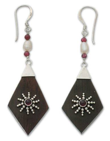 Garnet and pearl dangle earrings, 'Ray of Light' - Garnet and pearl dangle earrings
