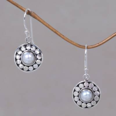 Pearl dangle earrings, 'Sunny Day' - Pearl Sterling Silver Dangle Earrings