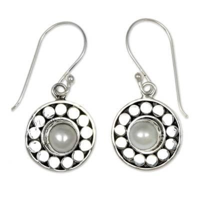 Pearl Sterling Silver Dangle Earrings