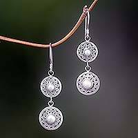 Pearl drop earrings, 'Sunny Days' - Pearl drop earrings