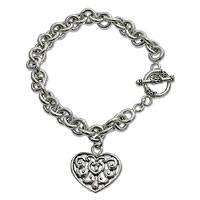 Sterling silver charm bracelet, 'Heart Song' - Heart Shaped Sterling Silver Charm Bracelet