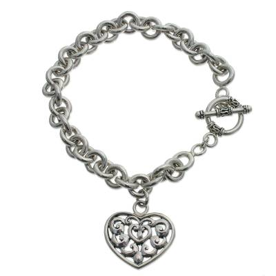 Heart Shaped Sterling Silver Charm Bracelet