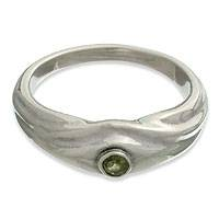 Peridot solitaire ring, 'A Promise' - Peridot And Sterling Silver Ring