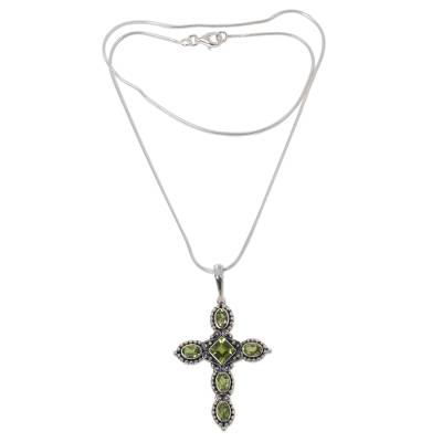 Peridot cross necklace, 'Sacred Cross' - Religious Peridot Necklace