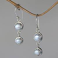 Pearl dangle earrings, 'Two Full Moons' - Bali Dancing Silver Pearl Drop Earrings