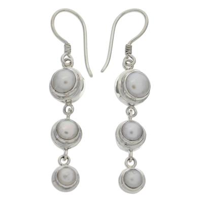 Pearl dangle earrings, 'Three Full Moons' - Pearl Sterling Silver Dangle Earrings