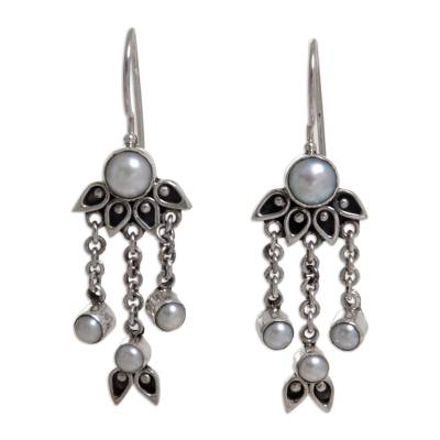 Pearl chandelier earrings, 'Moonlight Lotus' - Sterling Silver Pearl Chandelier Earrings